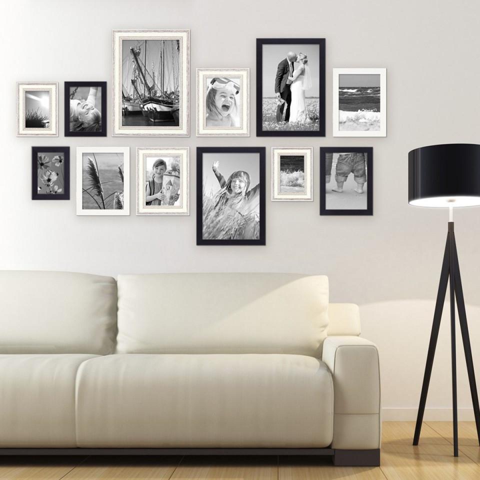 12Er Bilderrahmenset Für Grosse Bilderwand Modern Shabby von Wohnzimmer Bilder Mit Rahmen Bild
