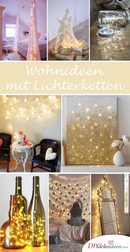 21 Tolle Und Stimmungsvolle Diy Wohndekoideen Mit Lichterketten von Lichterkette Ideen Wohnzimmer Bild
