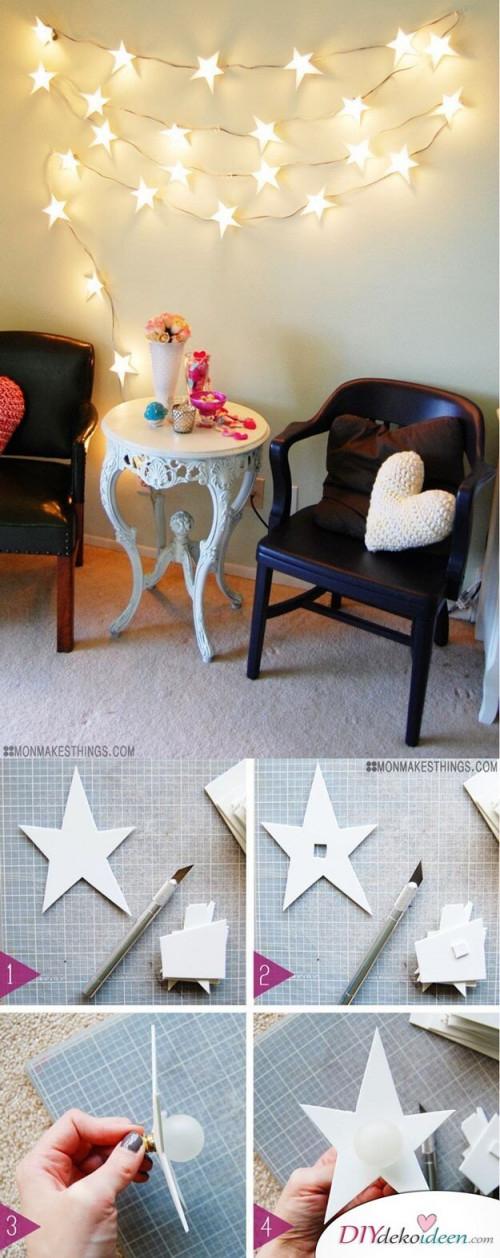 21 Tolle Und Stimmungsvolle Diy Wohndekoideen Mit Lichterketten von Lichterkette Ideen Wohnzimmer Photo