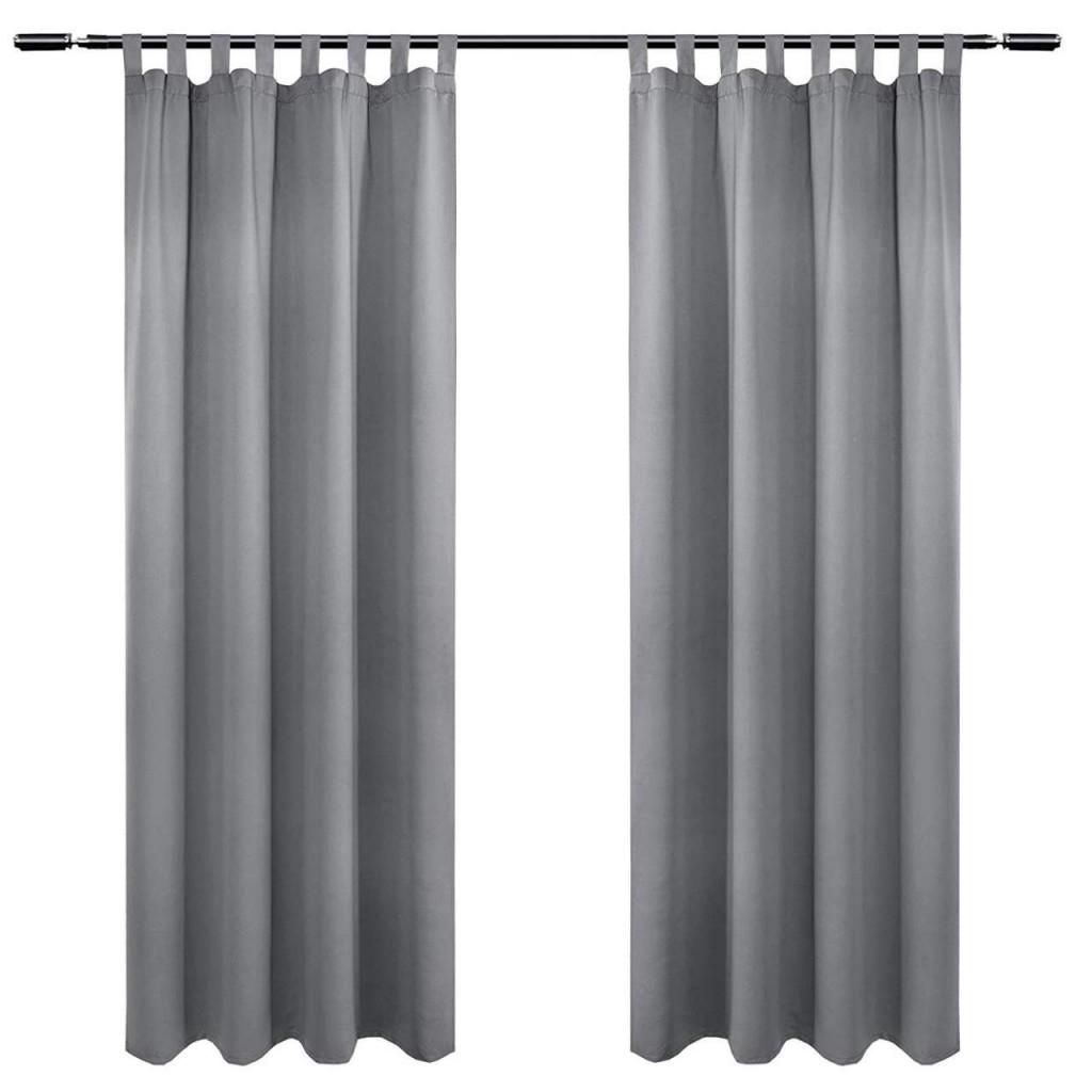 2Er Set Vorhang Blickdicht Mit 8 Schlaufen Und Raffhalter von Ösen Gardinen Wohnzimmer Photo