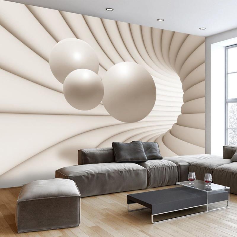 3D Optik Perspektive Beige Fototapete Vlies Tapete Xxl von 3D Tapeten Wohnzimmer Bild