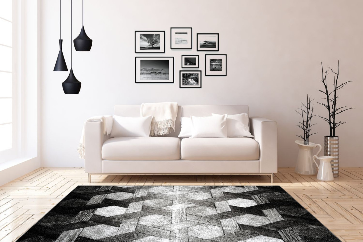 3D Teppich Modern Design Teppiche Wohnzimmer Schwarz Weiß Grau  Wohnzimmerteppich Esszimmerteppich Teppichläufer Flurläufer Verschied  Farben von Bilder Für Wohnzimmer Schwarz Weiß Photo