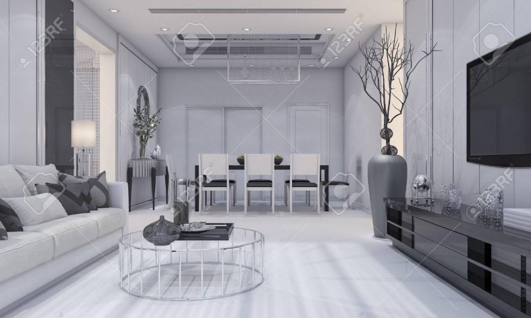 3Drendering Schöne Moderne Wohnzimmer Design Luxus Und Esszimmer Mit  Grauem Sofa Und Tv Regal Und Esstisch von Schöne Moderne Wohnzimmer Bild