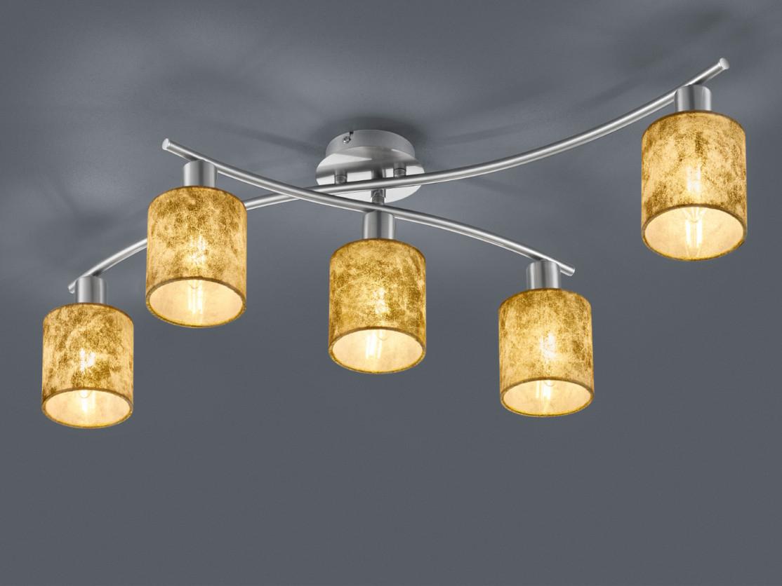 5 Flammige Schwenkbare Led Deckenleuchte Mit Stoff Schirmen Gold Fürs  Wohnzimmer  Yatego von Deckenleuchte Wohnzimmer Gold Bild