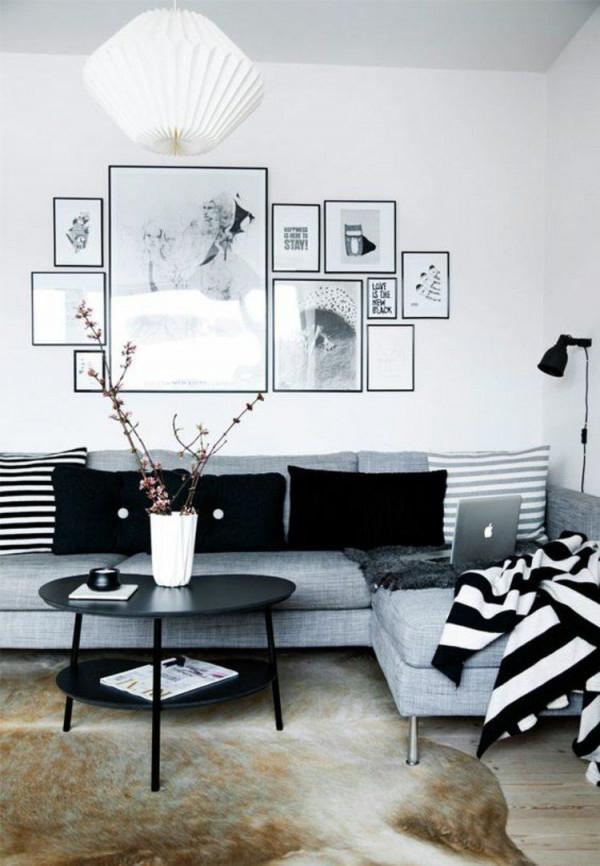 50 Fotowand Ideen Die Ganz Leicht Nachzumachen Sind von Deko Schwarz Weiß Wohnzimmer Photo