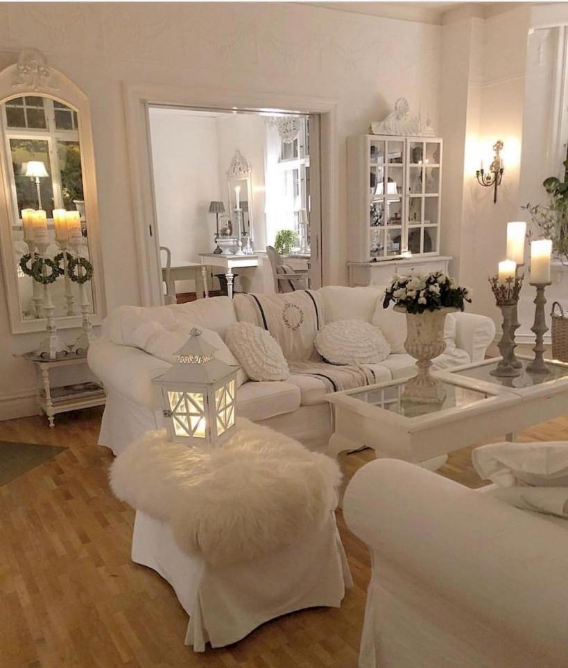 50 Romantic Shabby Chic Living Room Decor Ideas – Domakeover von Shabby Chic Wohnzimmer Ideen Bild