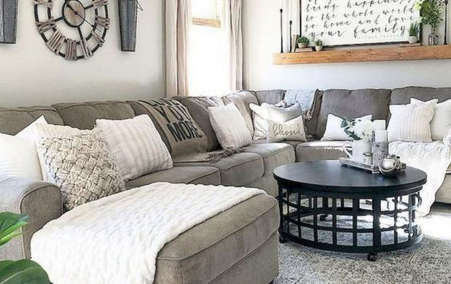 50 Stylish Living Room Farmhouse Decor Ideas  Living Room von Stilvolle Deko Wohnzimmer Bild