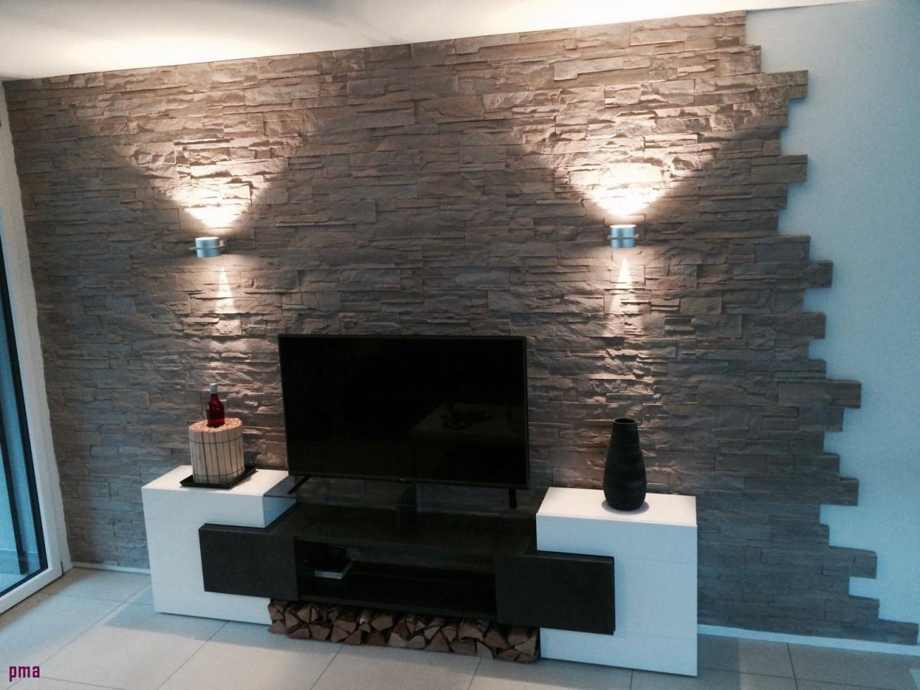 6 Luxus Wand Deko Stein  Steinwand Wohnzimmer Stilvolle von Deko Für Wand Wohnzimmer Bild