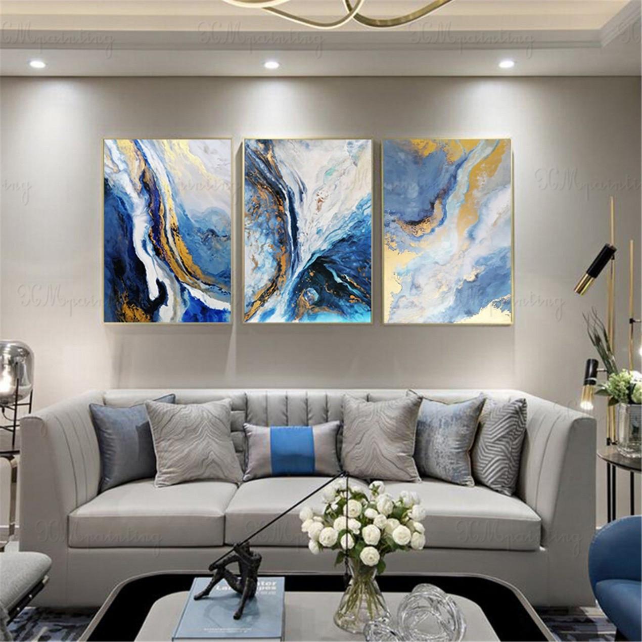 Abstract Acrylic Art Bedroom Blue Canvas Decor Gold von Moderne Leinwandbilder Wohnzimmer Bild