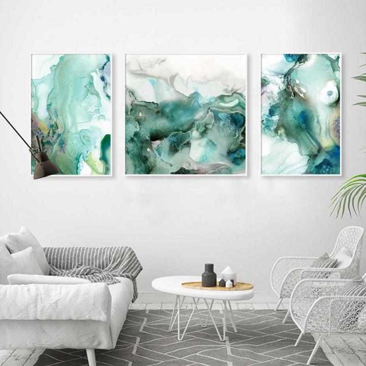 Abstrakte Mint Grün Marmor Wand Kunst Bilder Leinwand Malerei Galerie  Poster Und Drucke Innen Für Wohnzimmer Wohnkultur von Kunst Bilder Wohnzimmer Bild