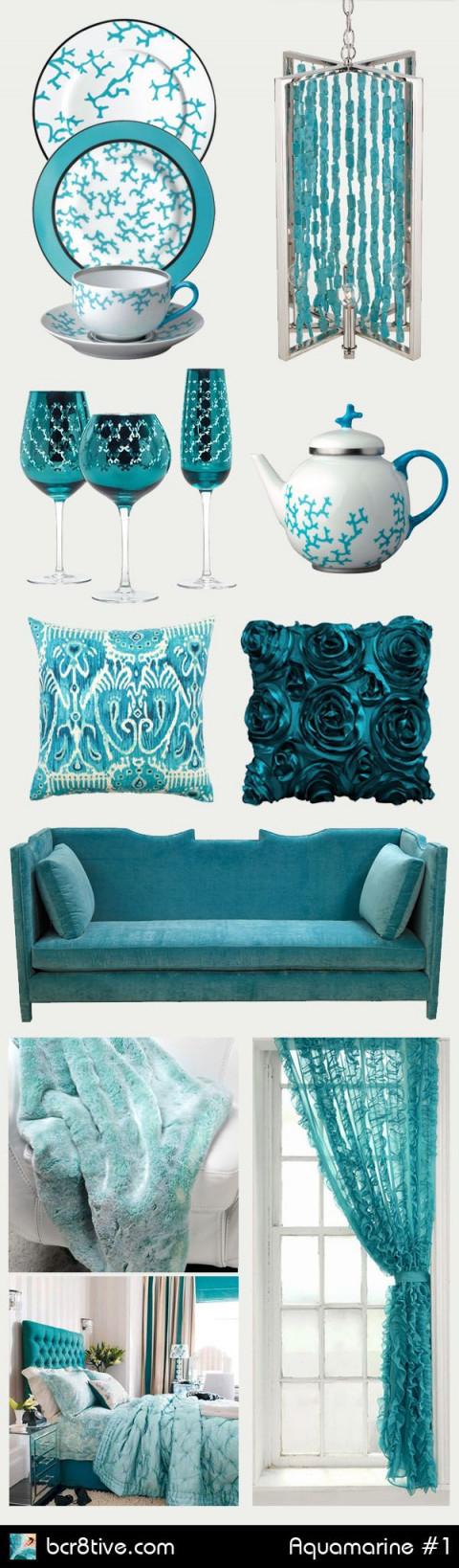 Aquamarine  Turquoise Interior Design  Home Decorating von Türkis Deko Wohnzimmer Bild