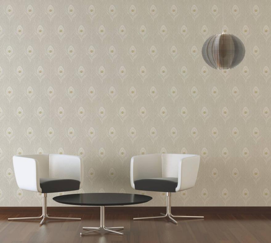 Architects Paper Tapete Grafik Beige Gold Grau von Tapeten Wohnzimmer Beige Photo