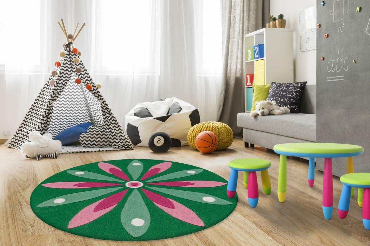 Arte Espina Teppich Rund Blume Motiv Kinderteppich Kinderzimmer Grün Rosa  Wohnzimmerteppich Esszimmerteppich Teppichläufer Flurläufer Verschied von Wohnzimmer Teppich Rund Bild