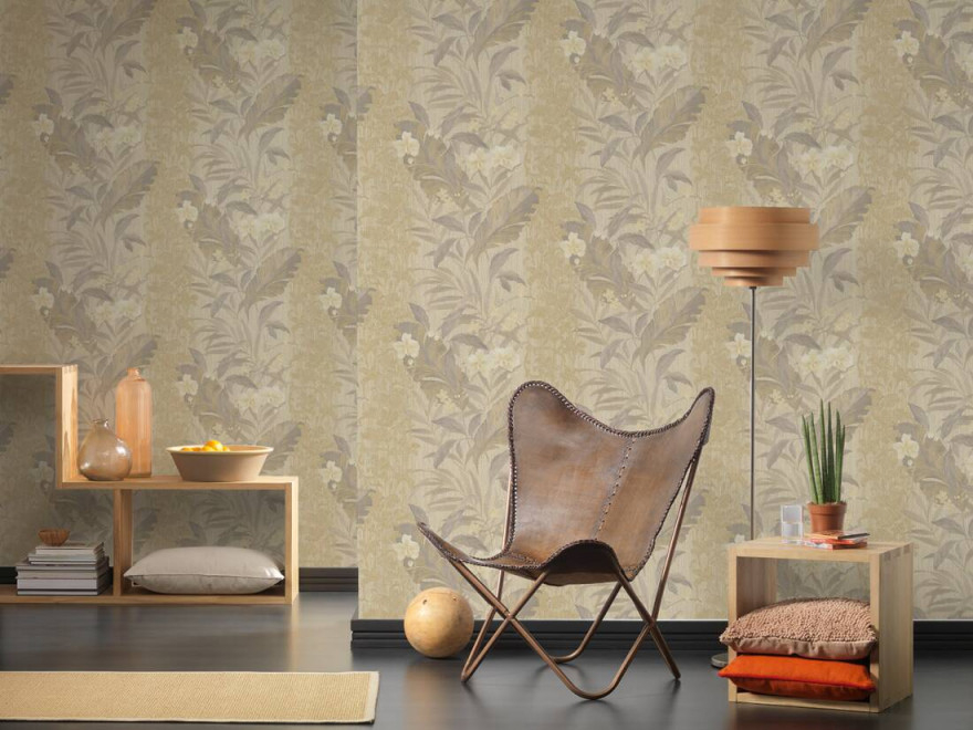 As Création Tapete Floral Beige Braun Metallics von Tapeten Wohnzimmer Beige Bild