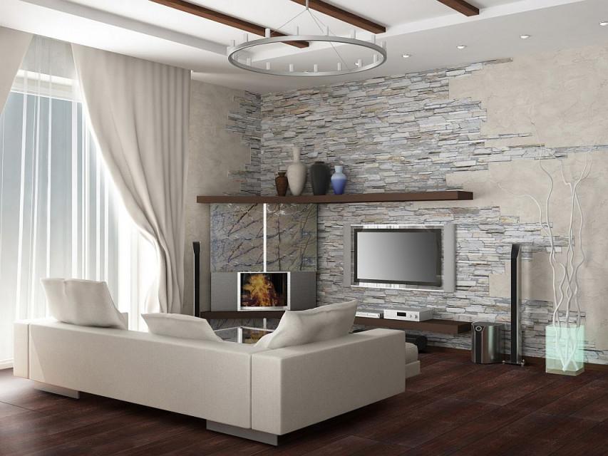 Bad Steinwand  Googlesuche  Steinwand Wohnzimmer Wohnung von Wohnzimmer Modern Einrichten Bild