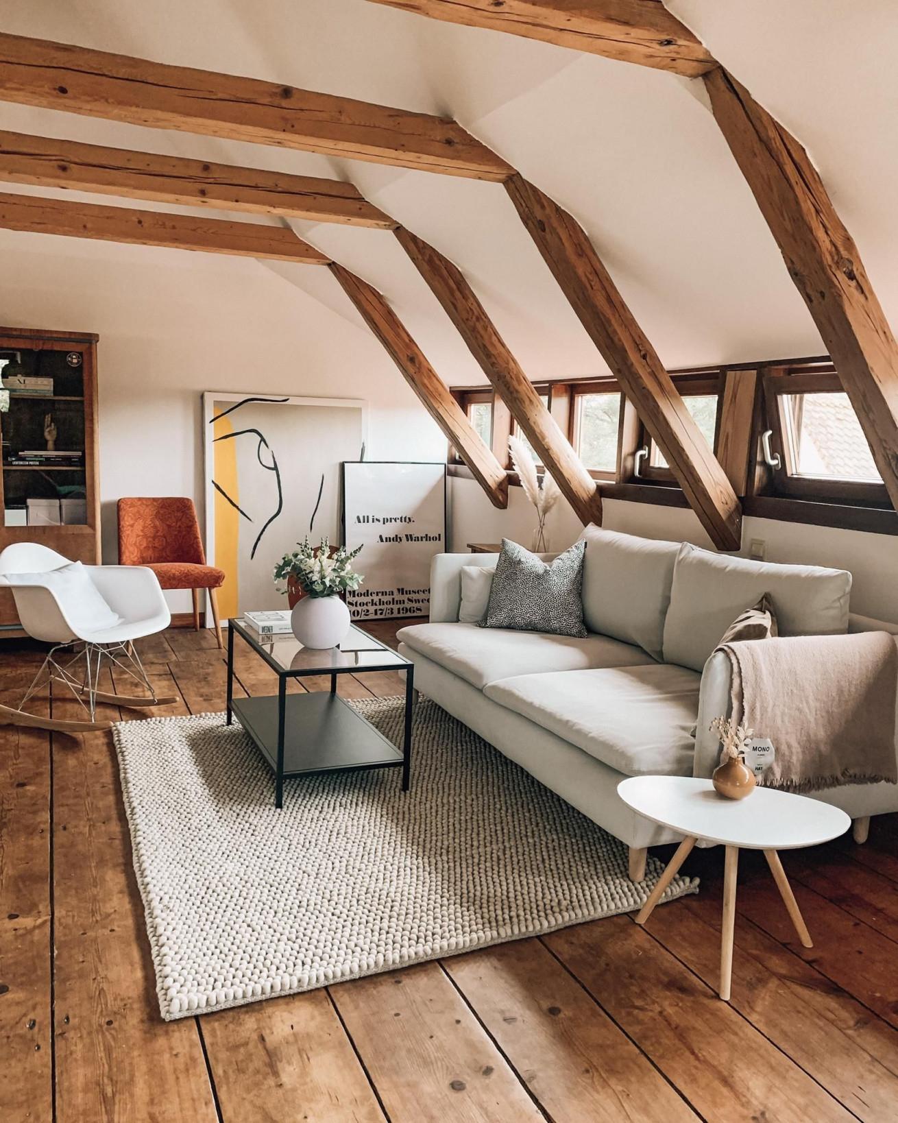 Balkenliebe Wohnzimmer In Der Letzten Zeit Habe  In 2020 von Wohnzimmer Ideen Dachgeschoss Bild