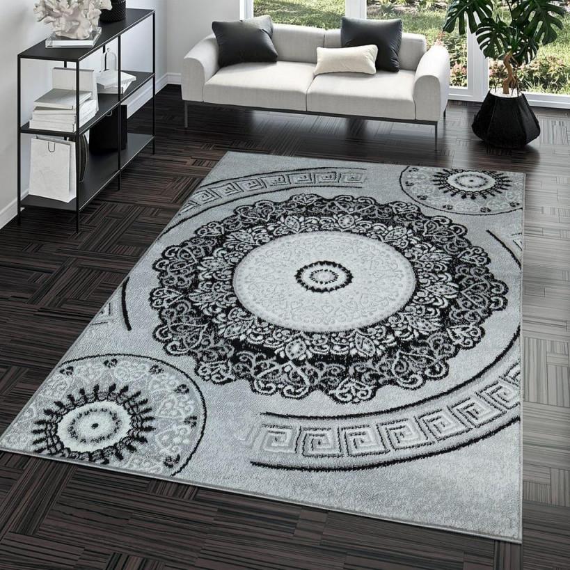 Beige Grau Pflegeleicht Schwarz Teppichhome Kurzflor von Pflegeleichter Teppich Wohnzimmer Bild