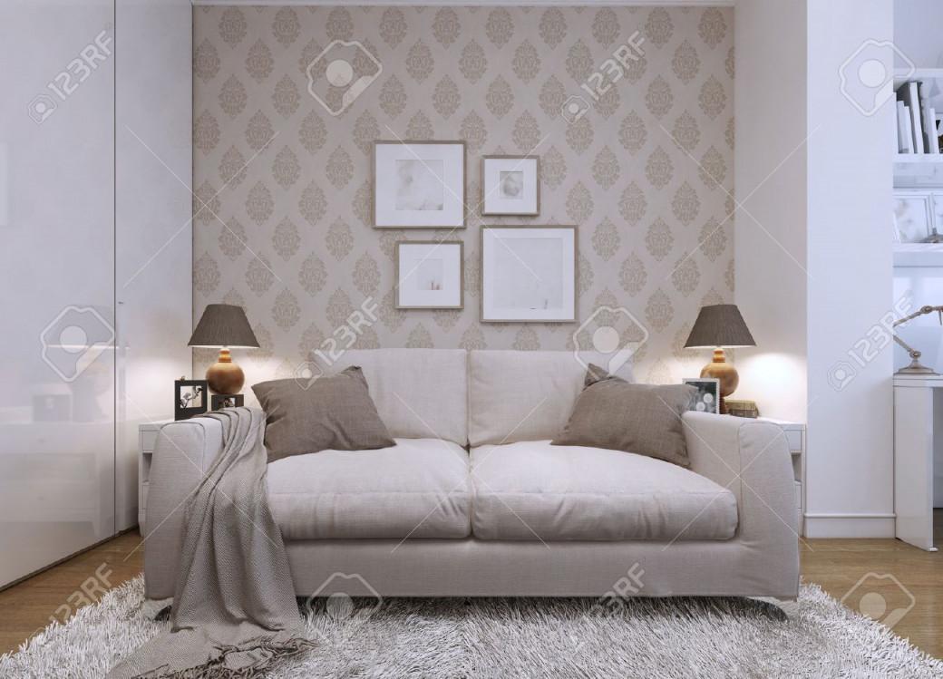Beige Sofa Im Wohnzimmer In Einem Modernen Stil Tapeten An Den Wänden Mit  Einem Muster Das Kunstwerk An Der Wand 3D Übertragen von Tapeten Wohnzimmer Beige Photo