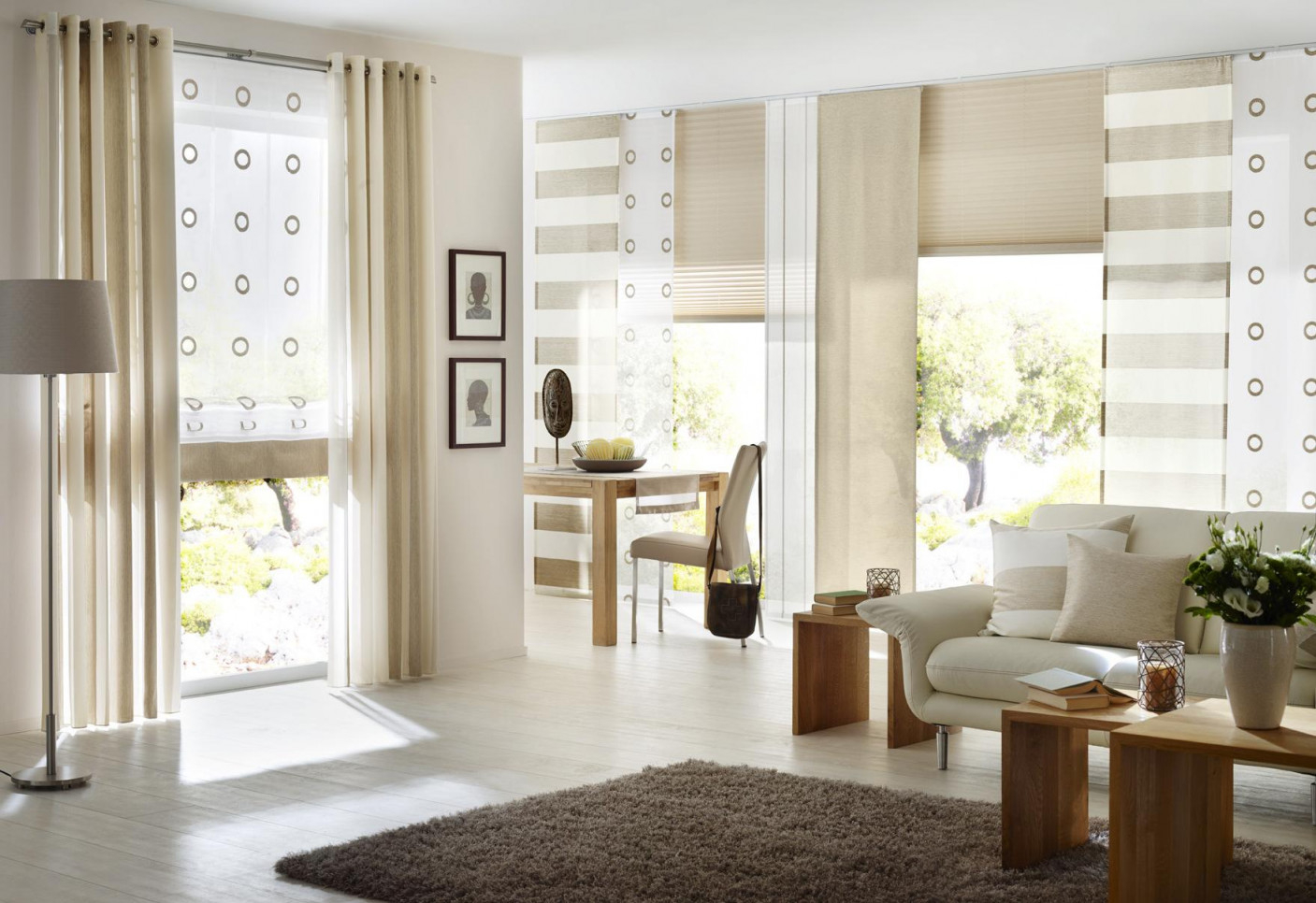 Beigefarbener Vorhang • Bilder  Ideen • Couch von Gardinen Wohnzimmer Beige Bild