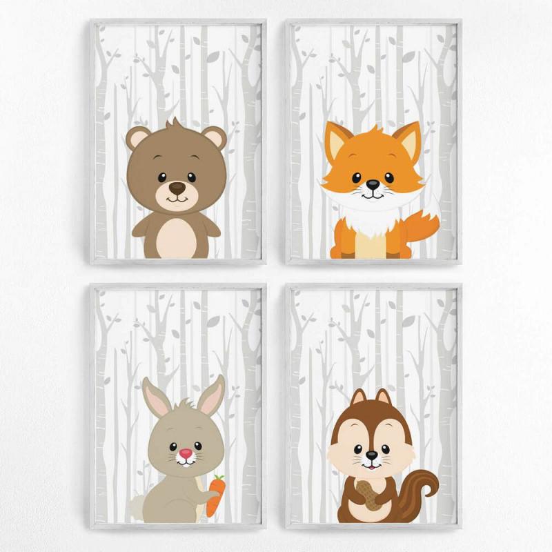 Bild Set Wald Tiere Kunstdruck A4 B R Fuchs Hase Bilder von Bilder Set Wohnzimmer Bild