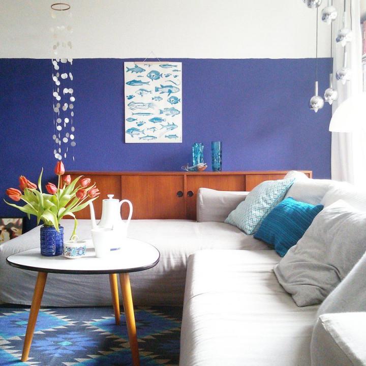 Blau Türkis Und Ein Touch Orange Interior Einrichtung von Blaue Deko Wohnzimmer Bild