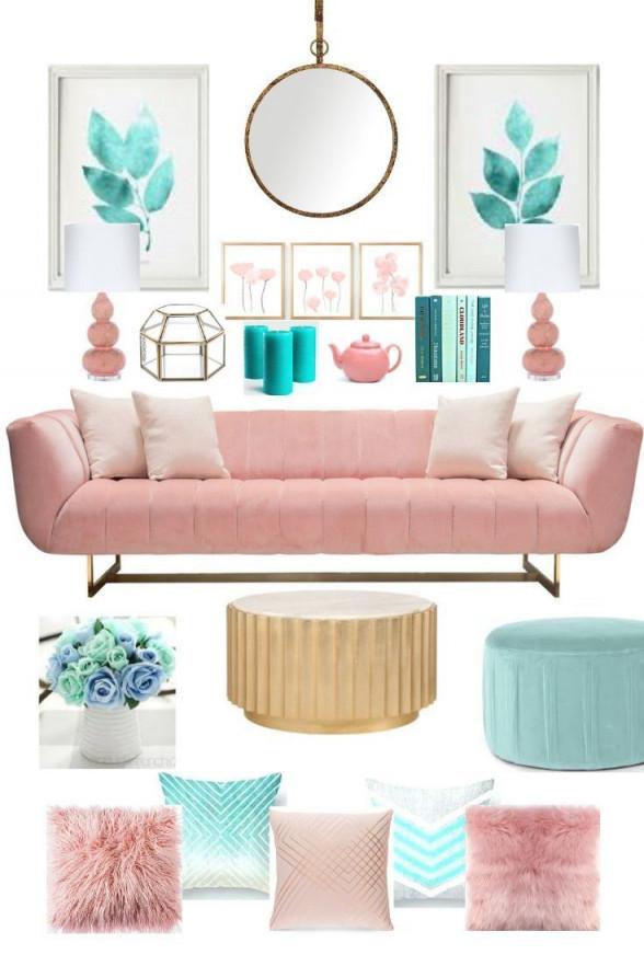 Blush Pink And Teal Room Decor On A Budget That Will Make von Wohnzimmer Deko Pink Photo