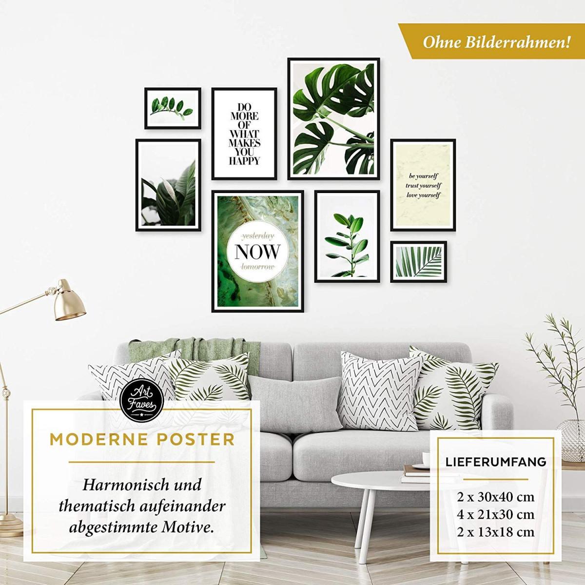 Botanik Kunstdruck Pflanzen Monstera Natur Happy von Bilder Set Wohnzimmer Photo