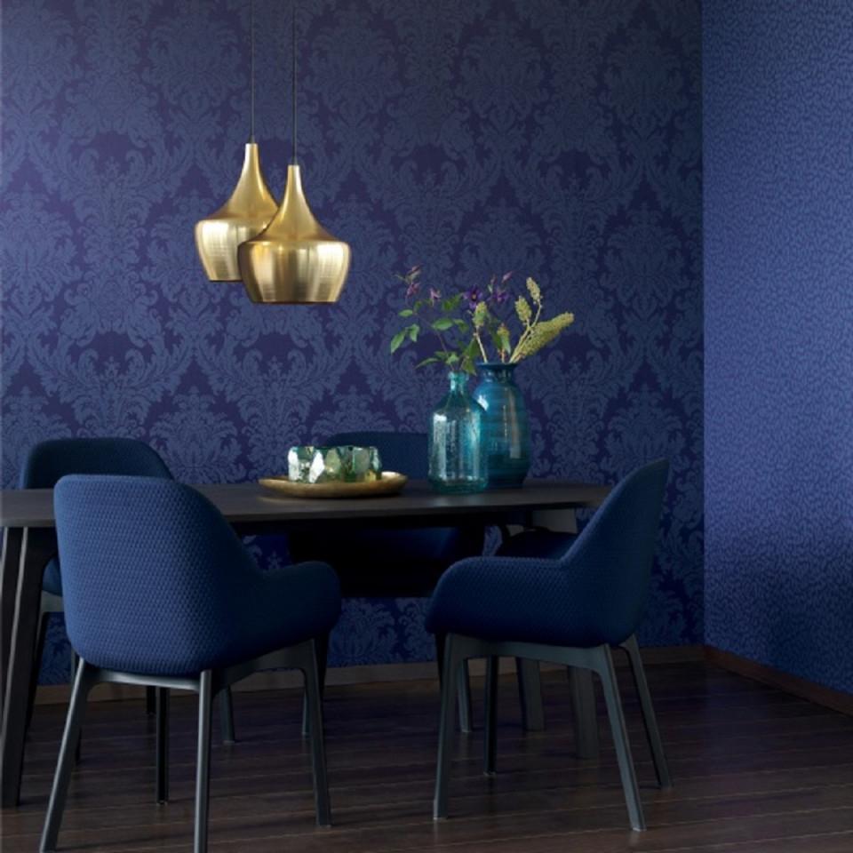 Casa Padrino Barock Textiltapete Blau 1005 X 053 M  Wohnzimmer Tapete   Deko Accessoires von Blaue Tapeten Wohnzimmer Bild