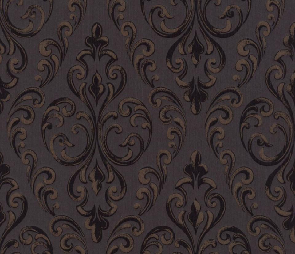 Casa Padrino Barock Textiltapete Schwarz  Dunkelbraun 1005 X 053 M   Hochwertige Wohnzimmer Tapete von Hochwertige Tapeten Wohnzimmer Bild