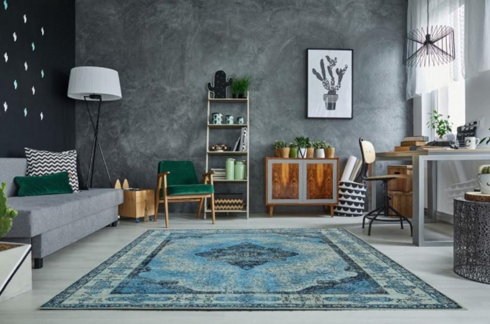 Casa Padrino Vintage Wohnzimmer Teppich Blau 160 X 240 Cm  Rechteckiger  Baumwoll Teppich  Wohnzimmer Deko Accessoires von Wohnzimmer Deko Blau Bild