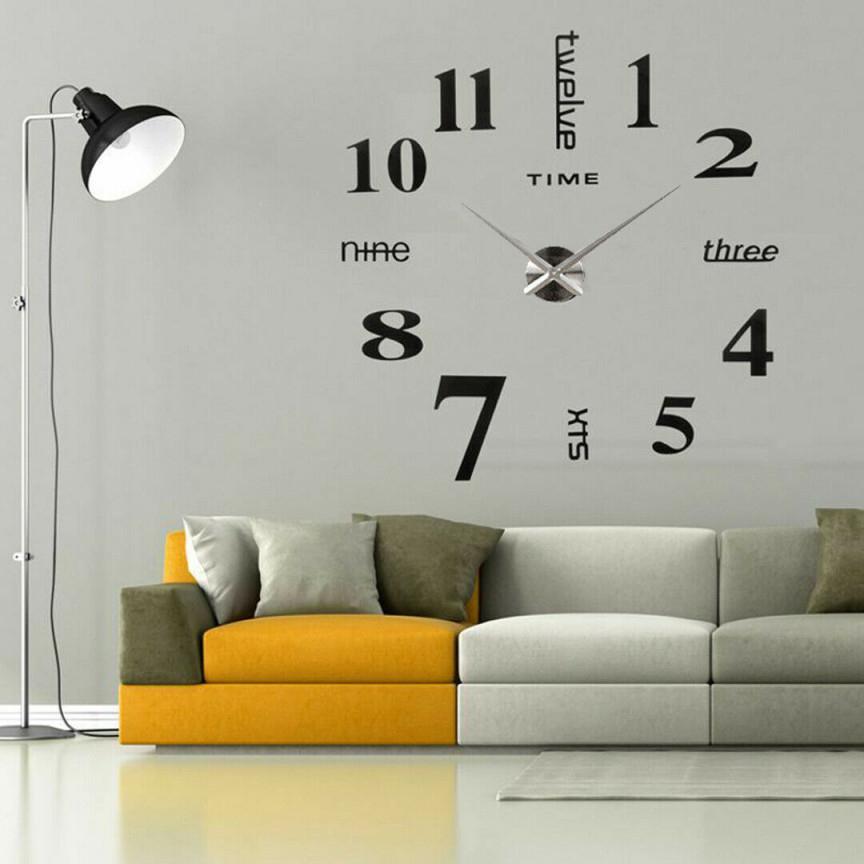 Настенные Часы Wanduhr Deko Wandtattoo 3D Disign Wand Uhr Wohnzimmer Xxl  Schwarz Selbstklebend von Deko Wand Wohnzimmer Bild