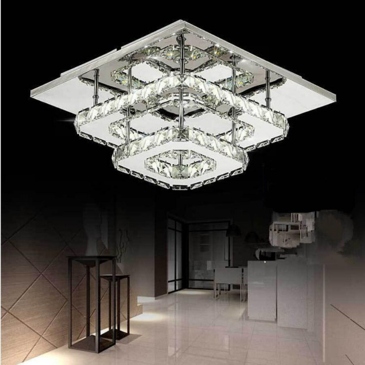 Новый Двойной Хрустальный Потолочный Светильник Для Гостиной von Led Lampe Wohnzimmer Photo