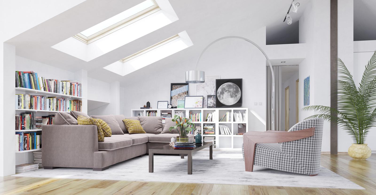 Dachzimmer Wohnidee  Dachgeschoß Mit Modernen Wohnzimmer von Dachgeschoss Wohnzimmer Ideen Photo