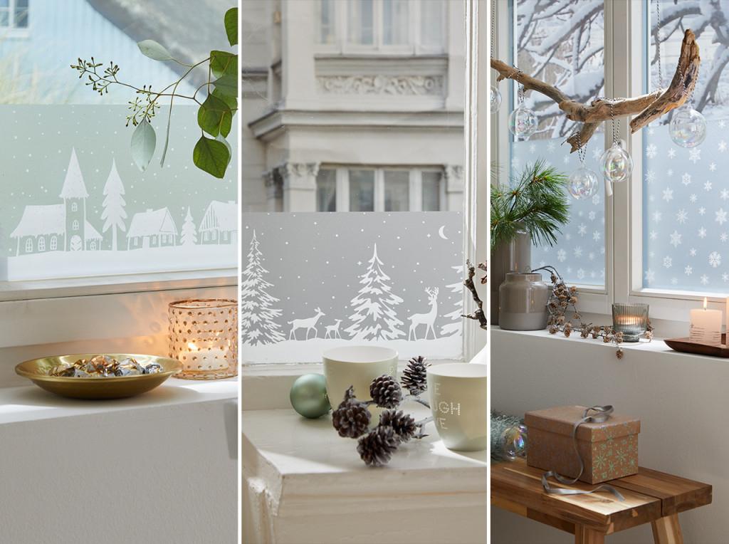 Dchome  Зимняя Сказка На Окне С Бордюрами Dcfix® Winter von Wohnzimmer Bilder Glas Photo