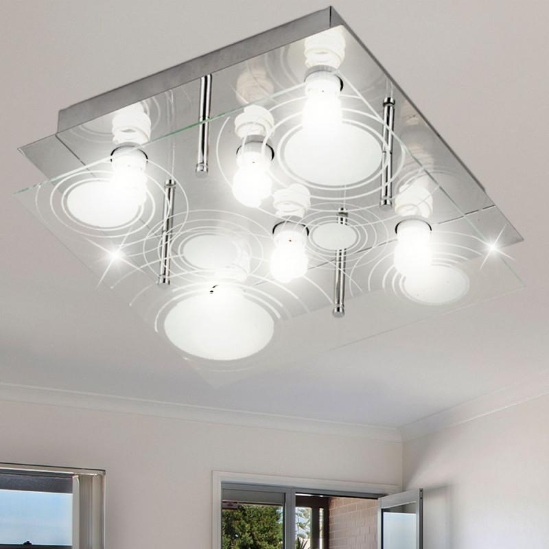 Decke Leuchten Lampe Licht Metall Muster Satiniert Wohnzimmer Globo Triton  48901 von Lampe Für Wohnzimmer Decke Photo