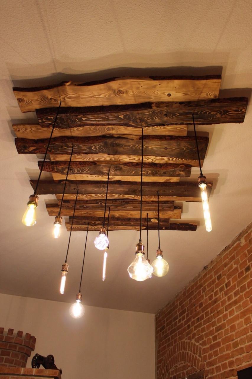 Deckenlampe Holz Rustikal Vintage Mit Edison Globe Nostalgie von Wohnzimmer Lampe Rustikal Bild