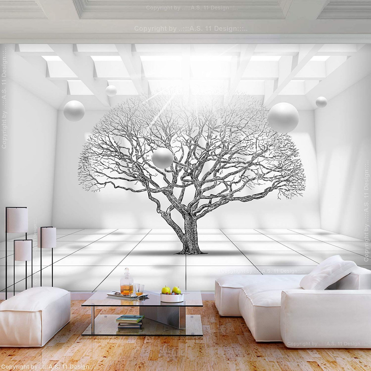 Decomonkey Fototapete Abstrakt Baum 350X256 Cm Xl Tapete von Tapeten Vlies Wohnzimmer Photo