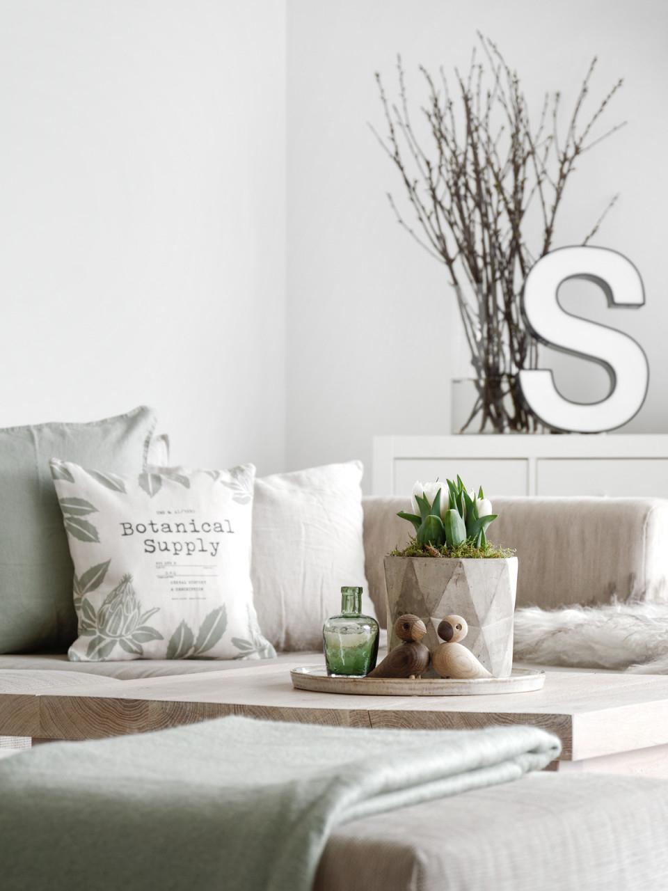 Dekoration  Lindgrün Gegen Die Wintertristesse  Mxliving von Deko Frühling Wohnzimmer Photo