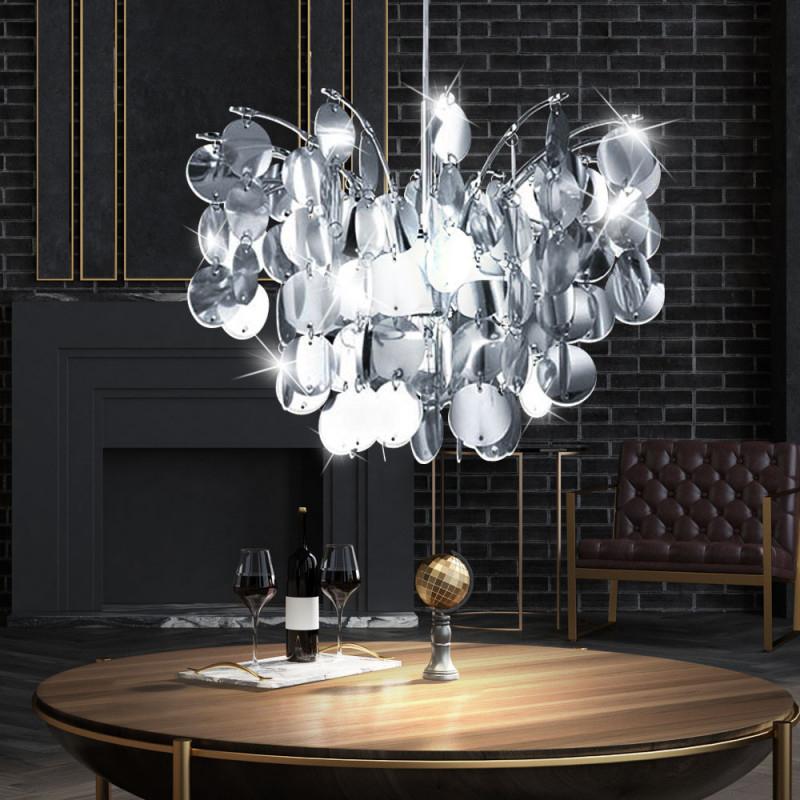 Design Hänge Decken Lampe Wohnzimmer Leuchte E27 Rund Blätter Chrom Eglo  91824 Fedra 1 von Wohnzimmer Lampe Design Photo