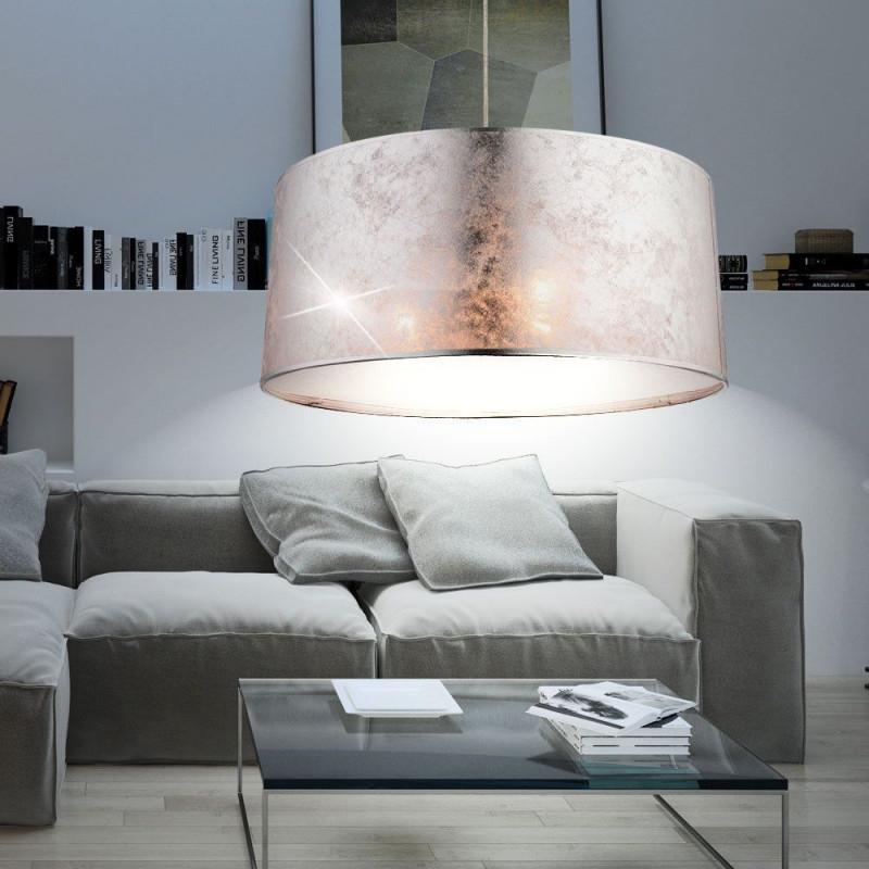 Design Hänge Leuchte Wohnzimmer Stoff Pendel Lampe Rund von Deckenlampe Wohnzimmer Rund Bild