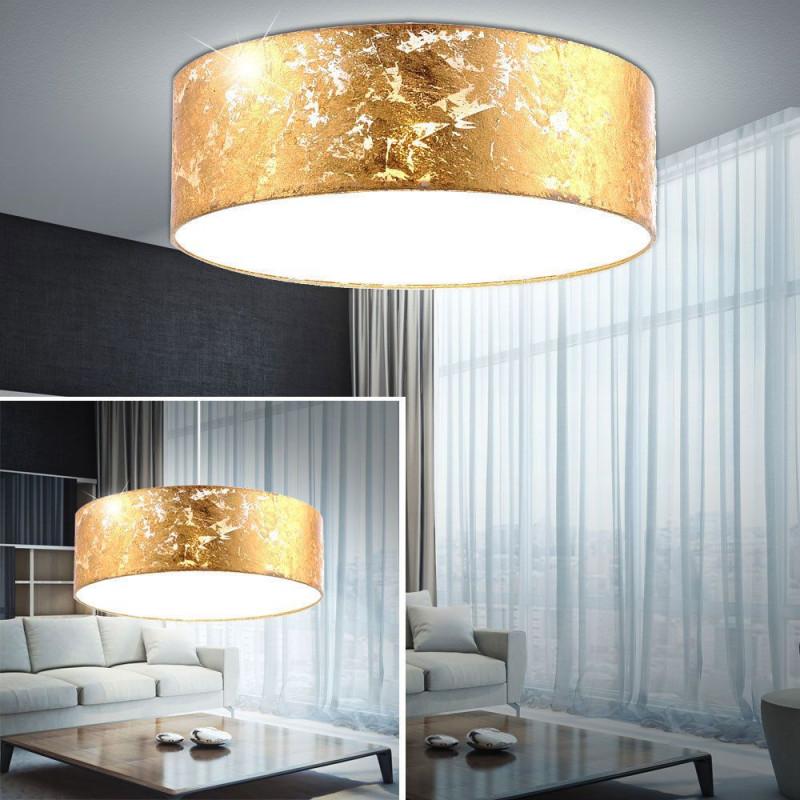 Design Led Decken Leuchte Gold Textil Schirm Küchen Pendel von Deckenleuchte Wohnzimmer Gold Photo