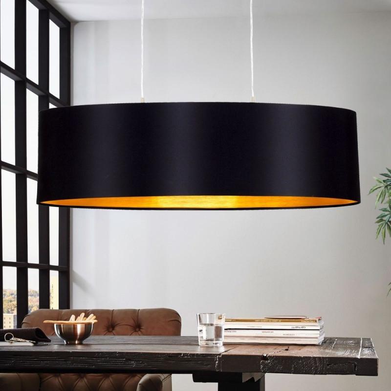 Design Pendel Leuchte Textil Schwarz Gold Wohnzimmer Hänge von Wohnzimmer Lampe Gold Bild