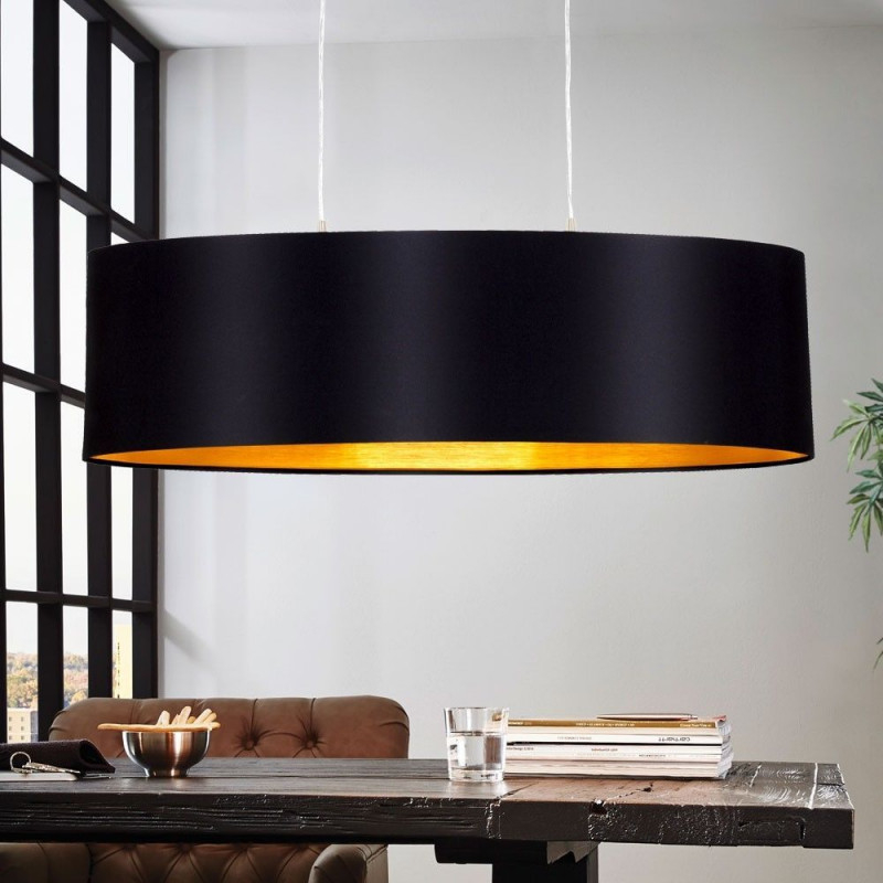 Design Pendel Leuchte Textil Schwarz Gold Wohnzimmer Hänge von Wohnzimmer Lampe Schwarz Bild