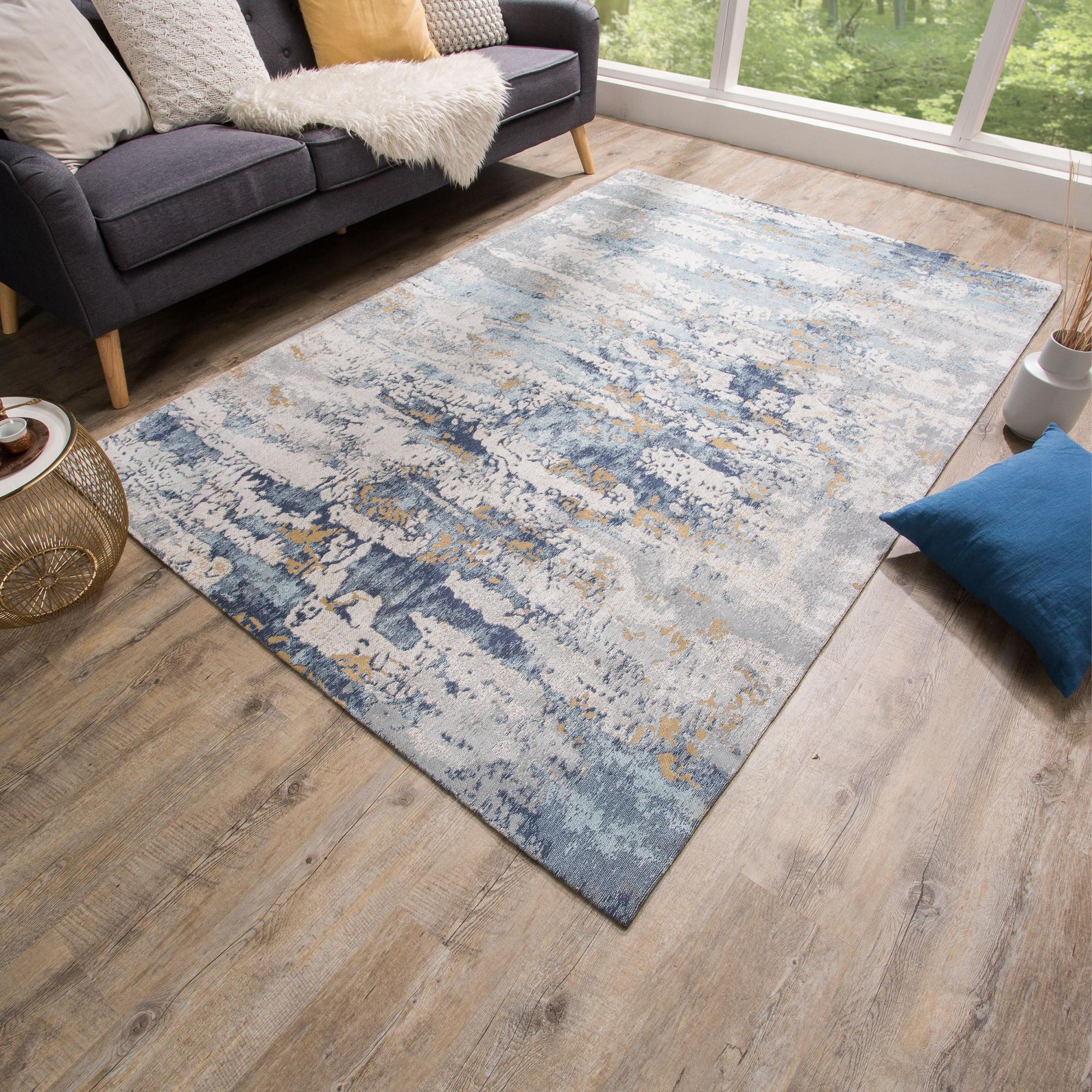 Design Teppich Abstrakt 240X160Cm Blau Baumwolle  Riess von Teppich Maritim Wohnzimmer Bild