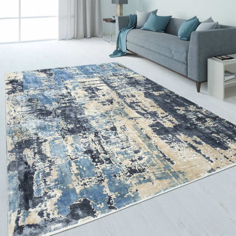Design Teppich Abstrakt Usedlook Blau  Teppich von Blau Teppich Wohnzimmer Photo