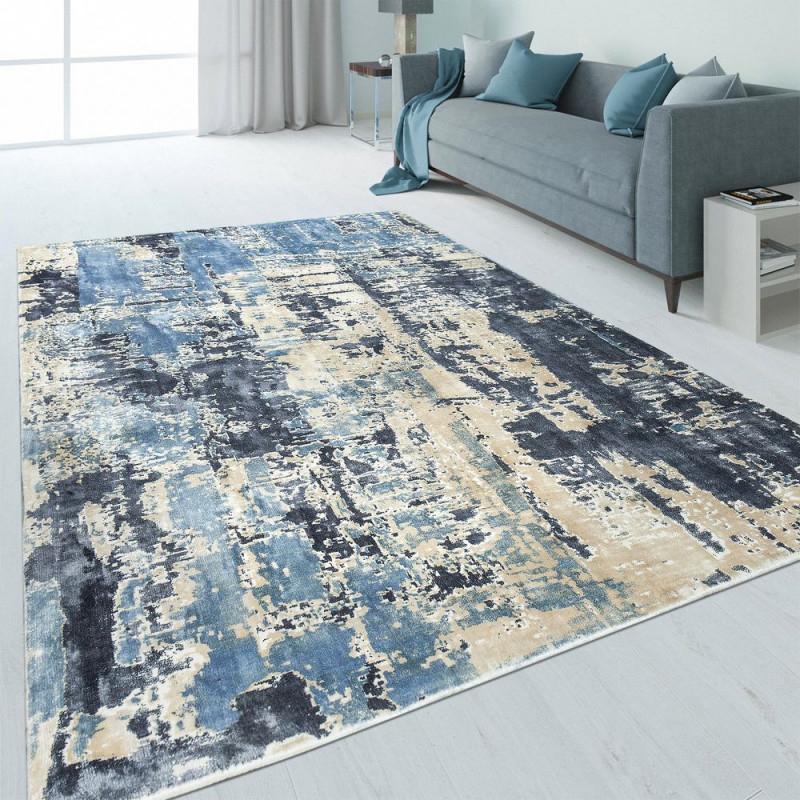 Design Teppich Abstrakt Usedlook Blau  Teppich von Wohnzimmer Teppich Blau Photo