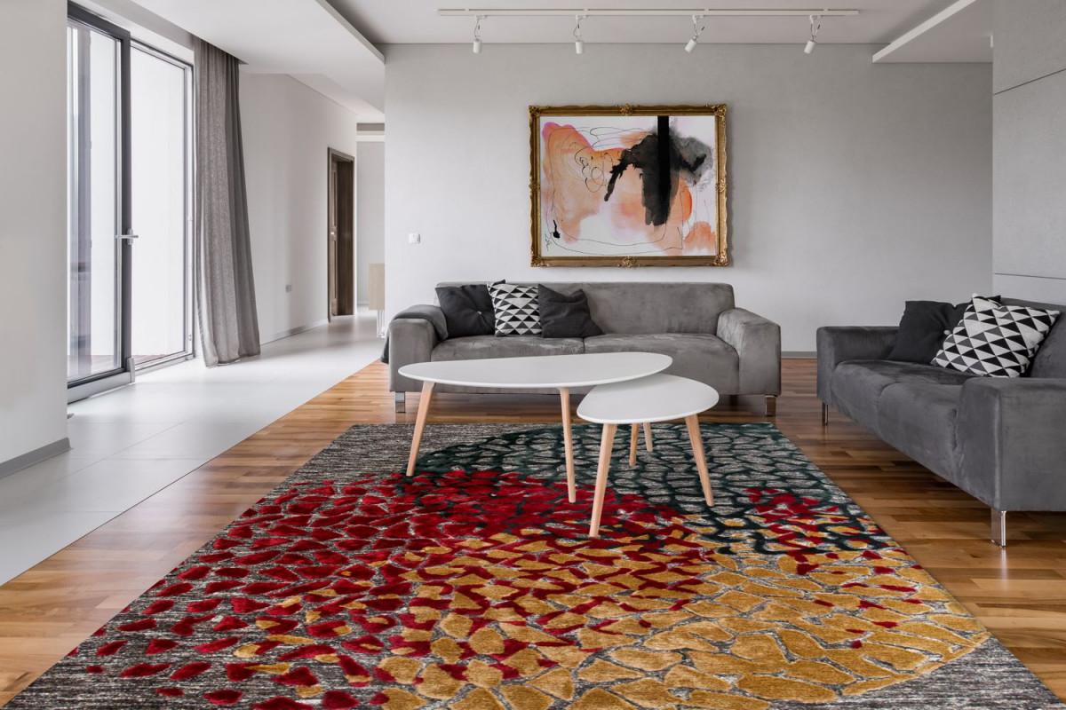 Design Teppich Modern Wohnzimmer Loft 3D Look Grau Rot Ocker  Wohnzimmerteppich Esszimmerteppich Teppichläufer Flurläufer Verschied  Farben von Bilder Wohnzimmer Rot Grau Photo