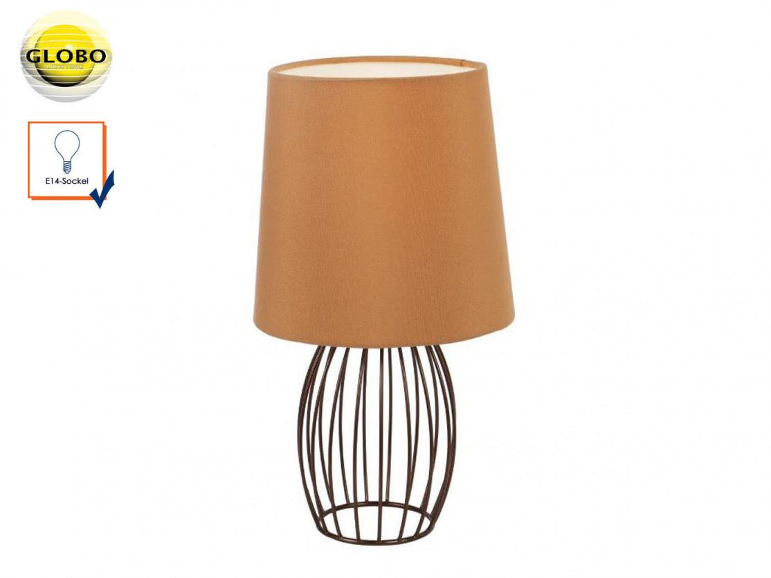 Design Tischleuchte Modern Mit Led Textilschirm Braun Tischlampe Wohnzimmer  Flur von Moderne Tischlampen Wohnzimmer Bild