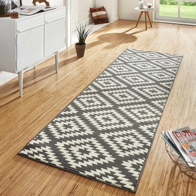 Design Velours Teppichläufer Brücke Teppich Flur Kurzflor von Teppich Läufer Wohnzimmer Bild