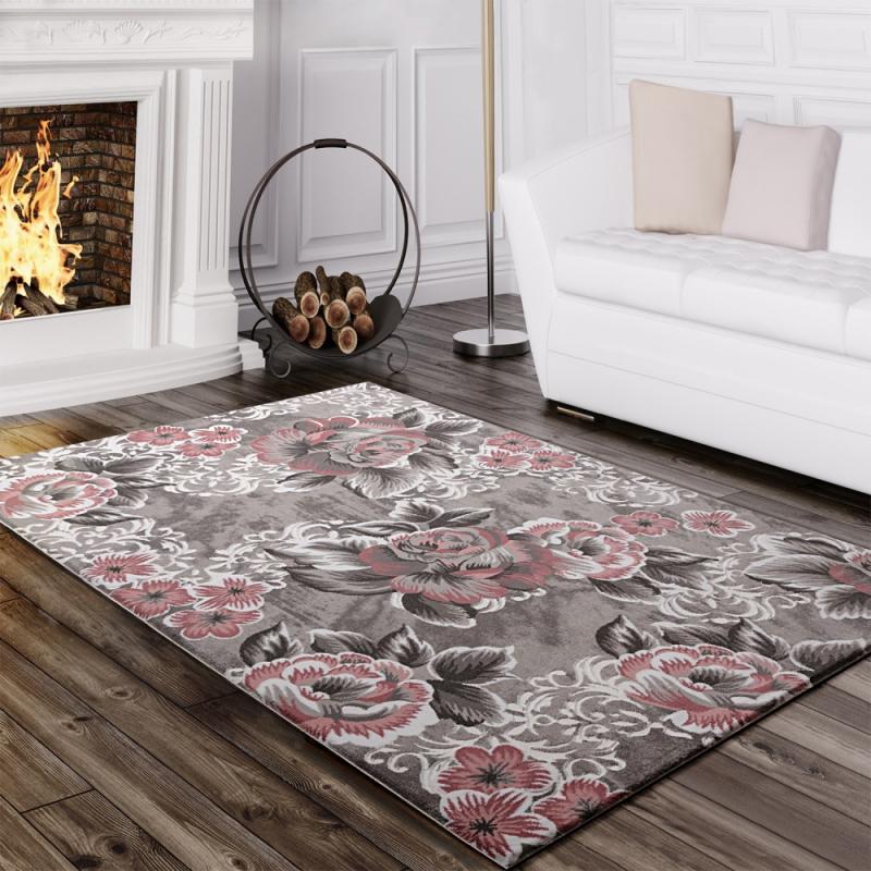 Designer Teppich Blumen Grau Rosa  Teppich Altrosa Teppich von Wohnzimmer Teppich Altrosa Bild